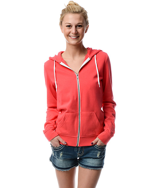 Zine Solid Teaberry Pink Zip Up Hoodie