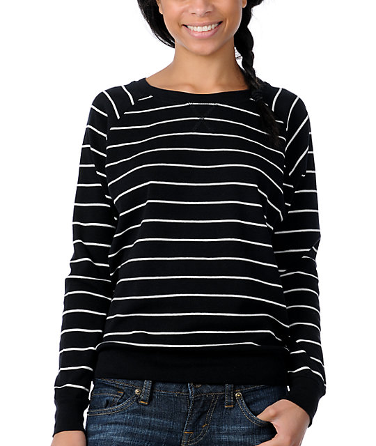 Zine Striped Boyfriend Fit Raglan Black Top
