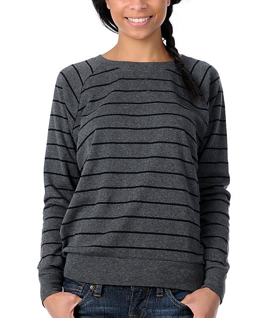 Zine Striped Boyfriend Fit Raglan Charcoal Top