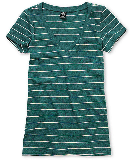 Zine Striped Pacific Blue V-Neck T-Shirt