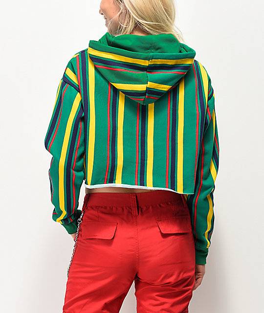 Zine Tariana Green, Black Berry & Gold Striped Crop Hoodie