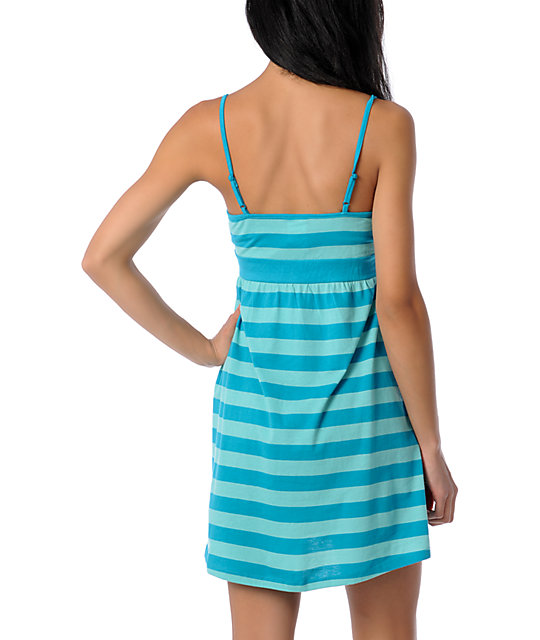 Zine Teal Striped Tank Top  Dress Cover Up
