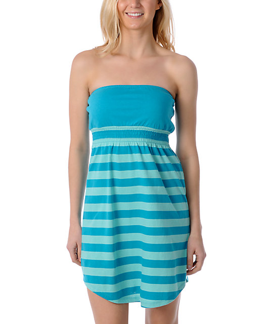Zine Teal Striped Tube Cover Up Dress