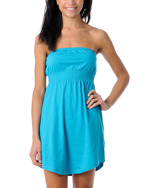 Zine Teal Tube Cover Up Dress