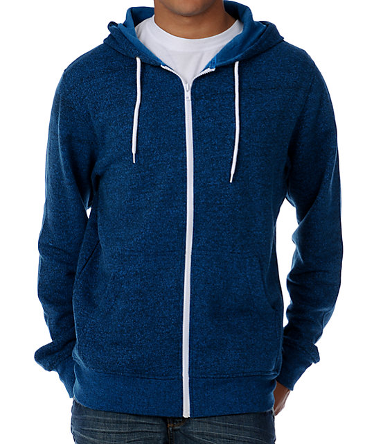 Zine Template Ocean Speckle Blue Zip Up Hoodie