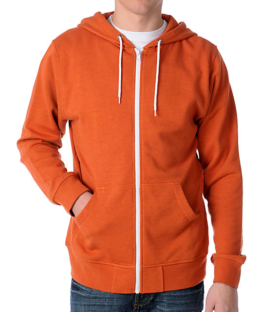 Zine Template Orange Zip Up Hoodie