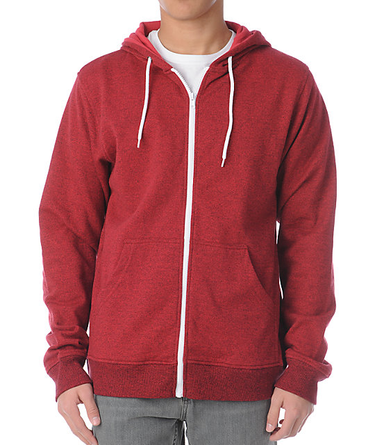 Zine Template Red Speckle Zip Up Hoodie