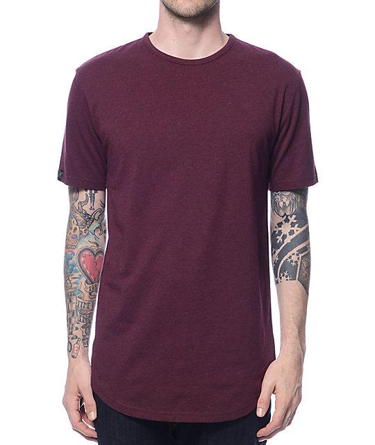 Zine Top Shelf Heather Burgundy Curved Hem Long T-Shirt  75800768ad2