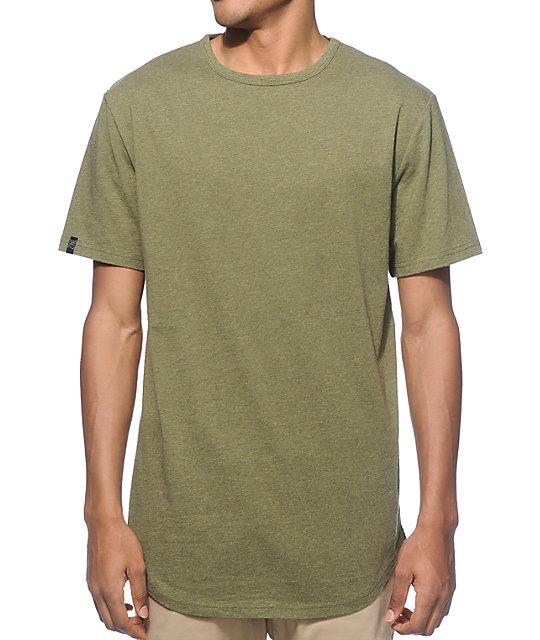 f34fb7a0d9 Zine Top Shelf Heather Green Curved Hem Long T-Shirt | Zumiez.ca