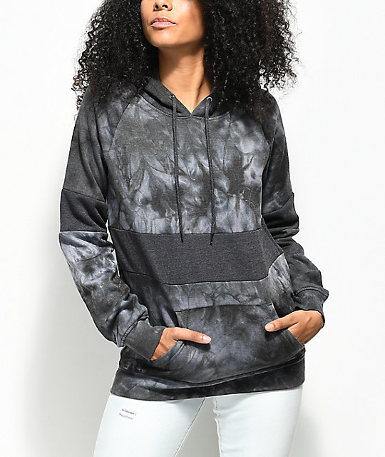 Zine Tyree Black & White Colorblock Tie Dye Hoodie
