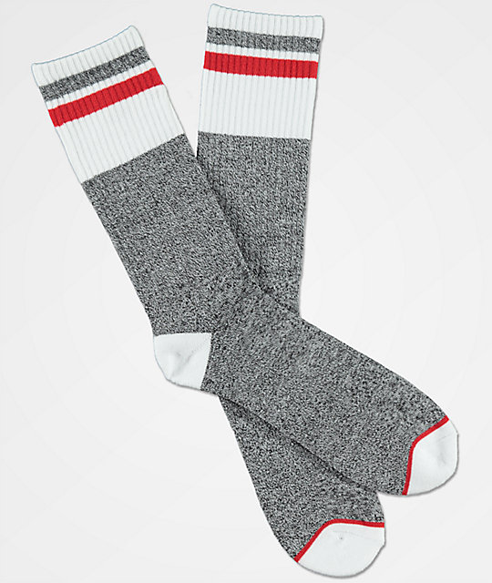 Zine Ultimate Charcoal, White & Red Crew Socks