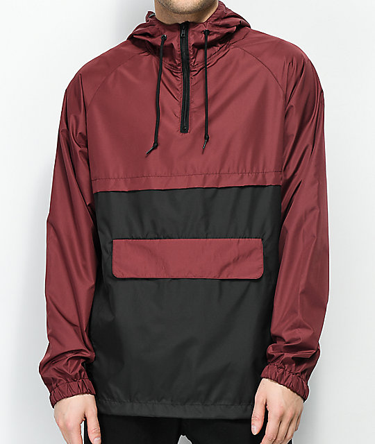 Zine Unlimited Burgundy & Black Anorak Jacket