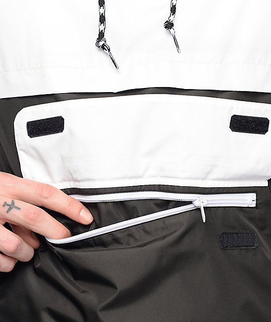Zine Unlimited White & Black Anorak Windbreaker Jacket