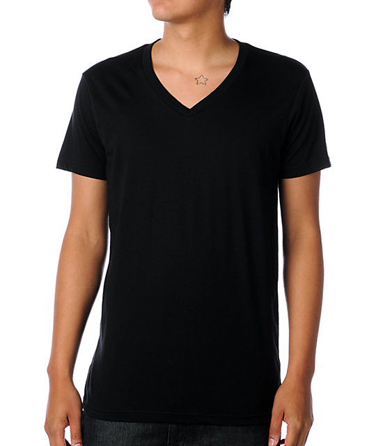 Zine V-Neck Black T-Shirt
