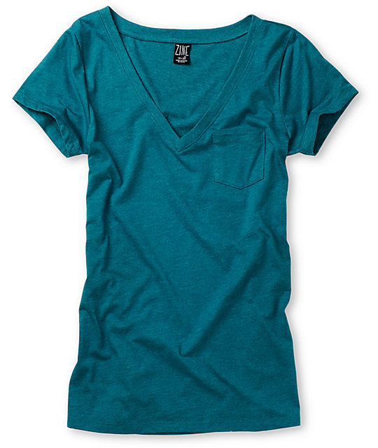 Zine V-Neck Pocket Everglade Heather Green T-Shirt