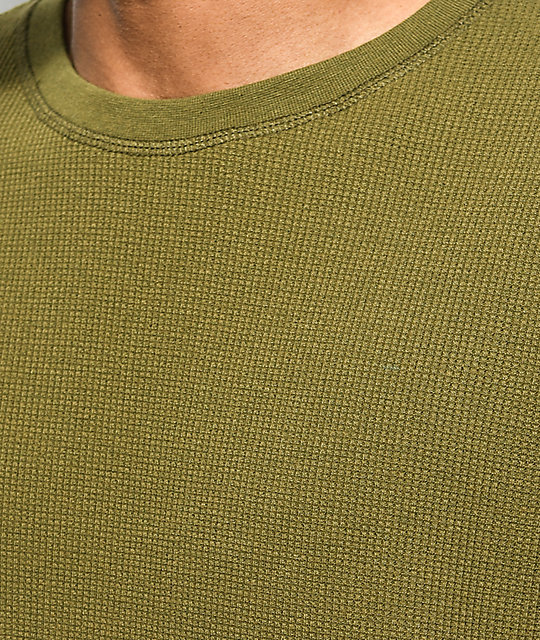 Zine Waffle Knit Olive Long Sleeve Thermal