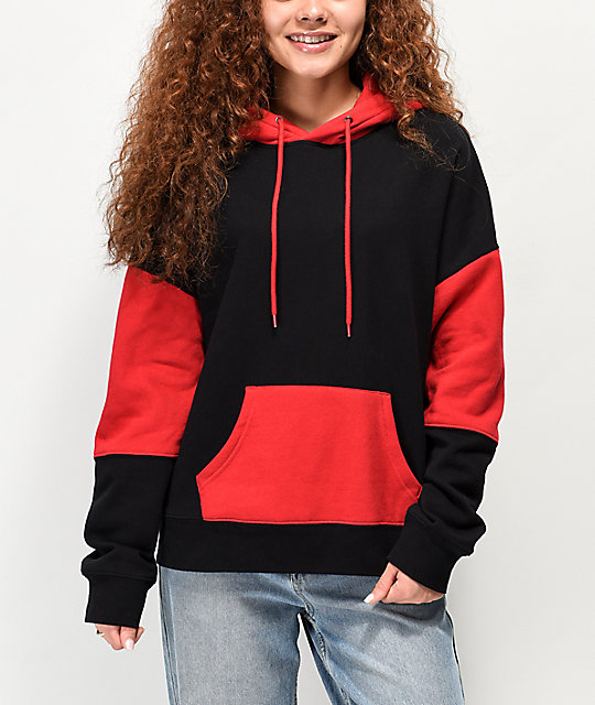 Zine Wesley Black & Red Colorblock Hoodie