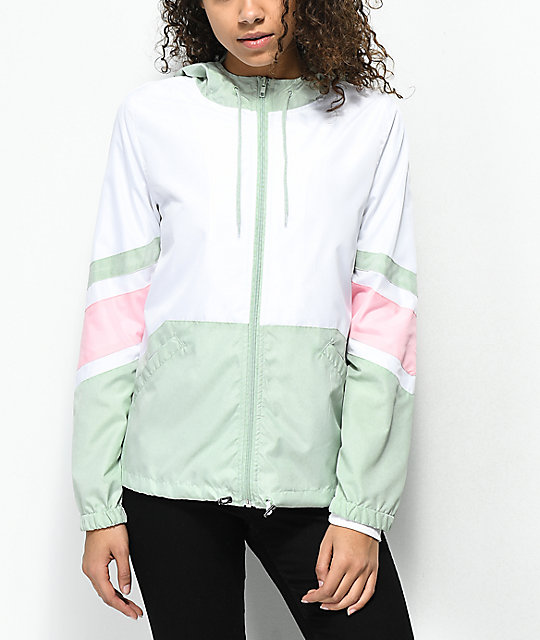 Zine Xander Mint, White & Pink Windbreaker Jacket