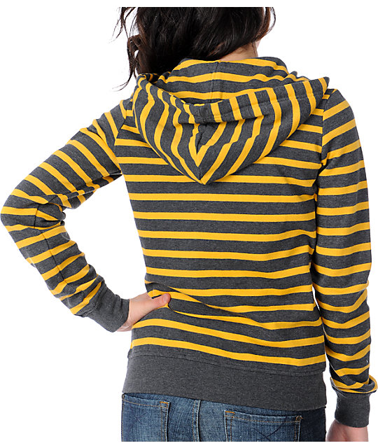 Zine Yellow & Charcoal Stripe Zip Up Hoodie