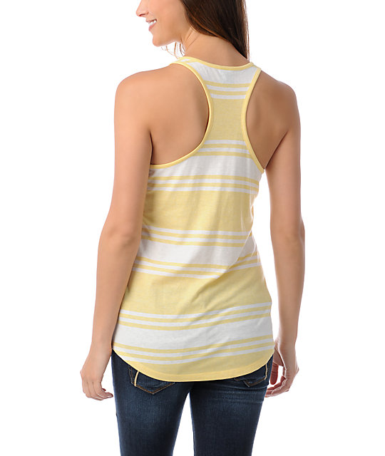 Zine Yellow & White Wide Stripe Tank Top