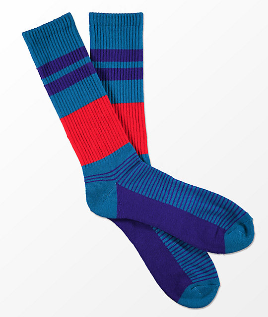 Zine You Betcha Teal & Purple Stripe Crew Socks