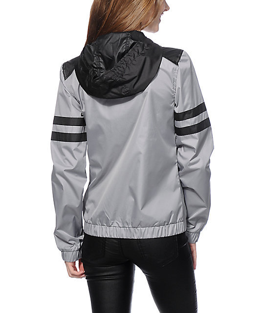 Zine Zion Grey & Black Athletic Stripe Windbreaker Jacket
