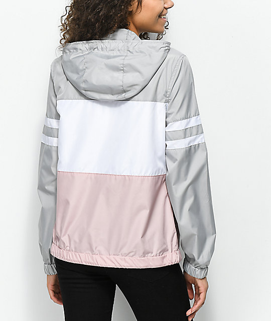 Zine Zuri Mauve, Grey & White Color Blocked Windbreaker Jacket