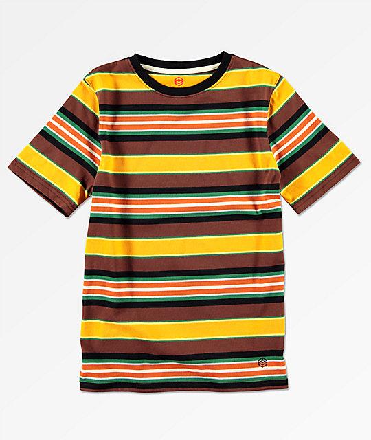 401d18e34 Zine camiseta a rayas amarillas y marrones para niños
