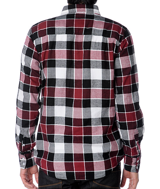 Zoo York Harbor White & Red Flannel Shirt
