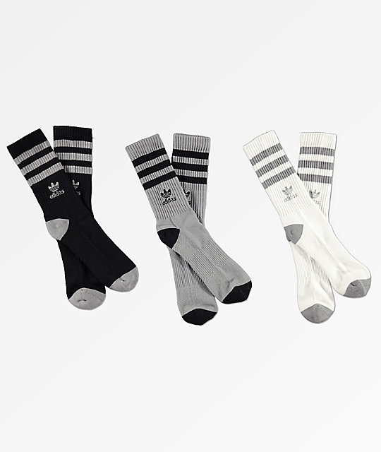 adidas 3 Pack Roller Onyx Black & White Crew Socks