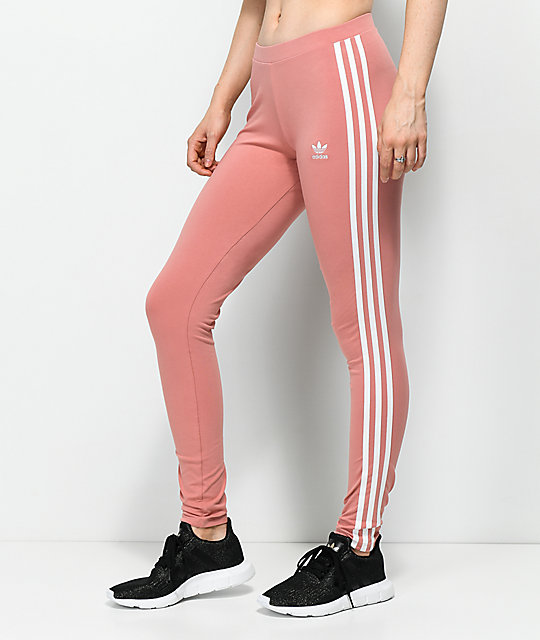 4cd58210cb53b adidas 3 Stripe Ash Pink Leggings | Zumiez