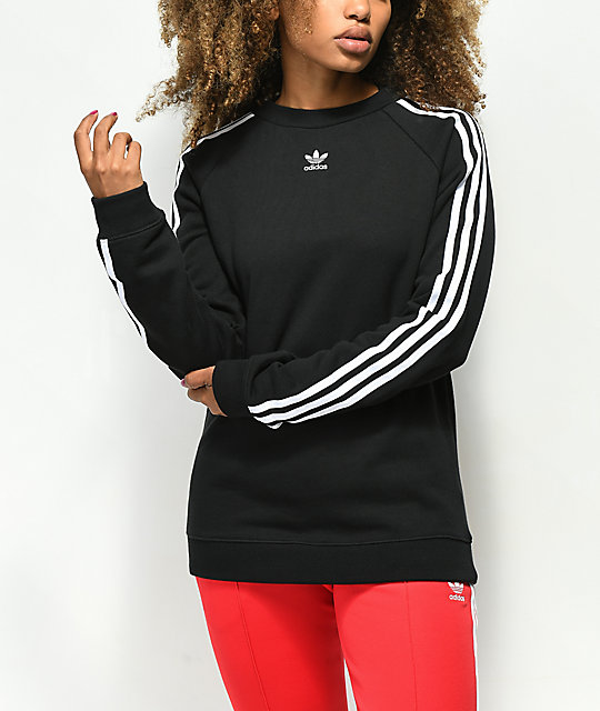 6a4a383c5877 adidas 3 Stripe Black Crew Neck Sweatshirt