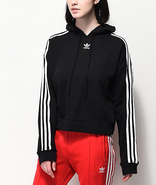afd3e54a adidas 3 Stripe Black Cropped Hoodie