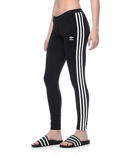 4a174c75994db adidas 3 Stripe Black Leggings | Zumiez