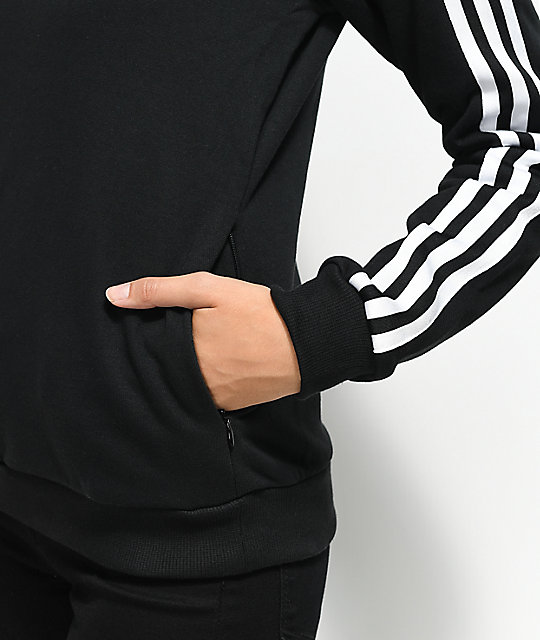 c7932077316 ... adidas 3 Stripe Black Partial Zip Sweatshirt ...