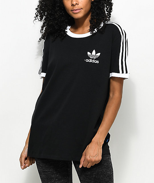 495c0f2a130f adidas 3 Stripe Black T-Shirt