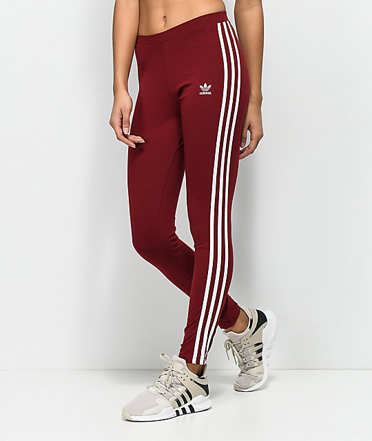 adidas 3 Stripe Burgundy Leggings