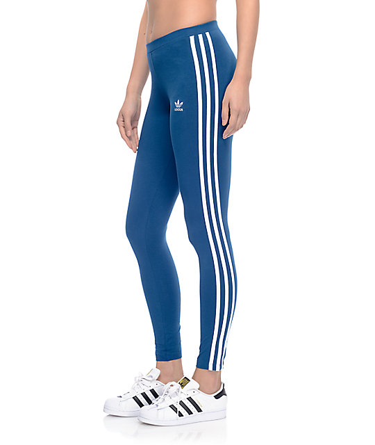 653fd8c1303ce adidas 3 Stripe Dark Blue Leggings | Zumiez