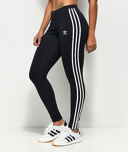 3b71c036eb627 adidas 3 Stripe Dark Blue Leggings | Zumiez