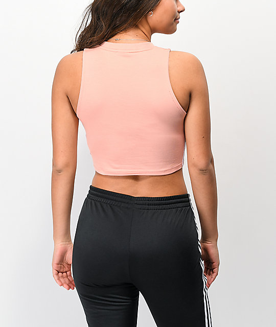 adidas 3 Stripe Dust Pink Crop Tank Top