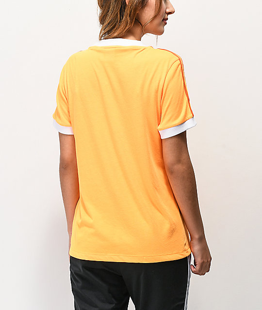 adidas 3 Stripe Flash Orange T-Shirt