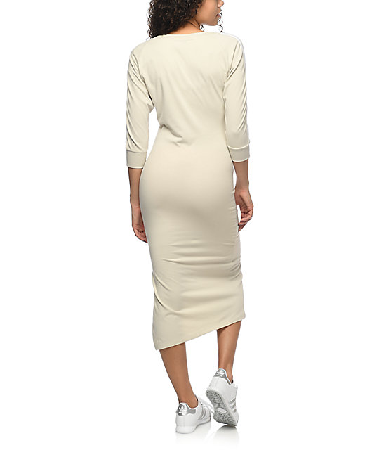 334a21873b ... adidas 3 Stripe Khaki Midi Dress ...