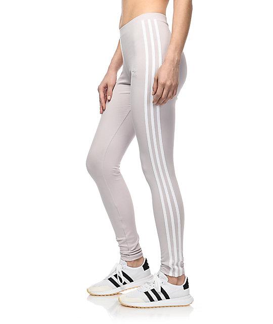 1aaedd3546 adidas 3 Stripe Lavender Leggings | Zumiez