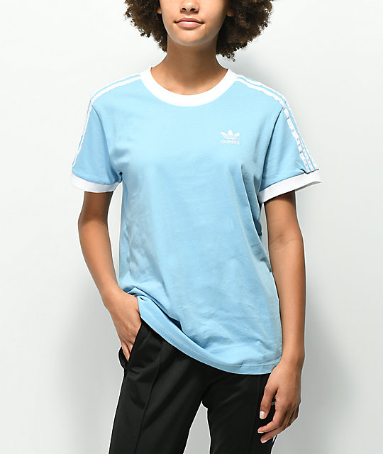 adidas 3 Stripe Light Blue T-Shirt