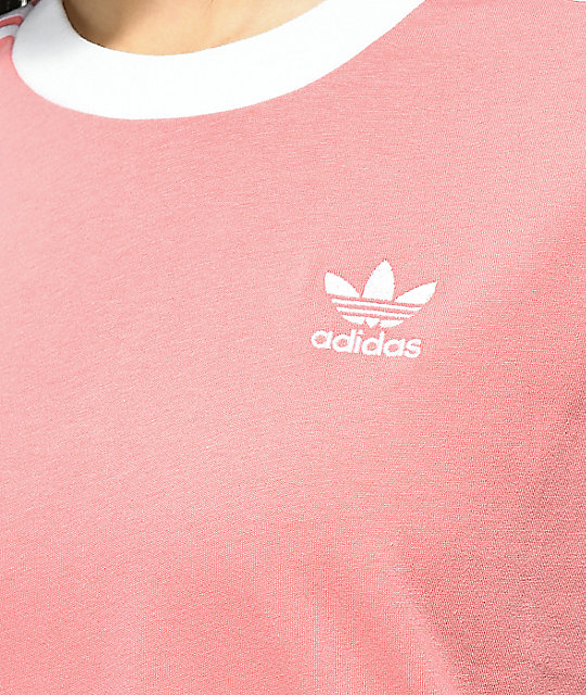 ... adidas 3 Stripe Light Pink T-Shirt ...