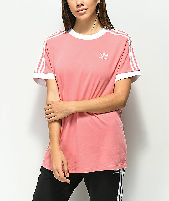 787a6f57 adidas 3 Stripe Light Pink T-Shirt | Zumiez