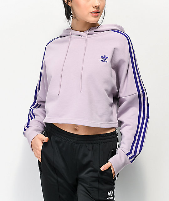 adidas 3 Stripe Light Purple Crop Hoodie