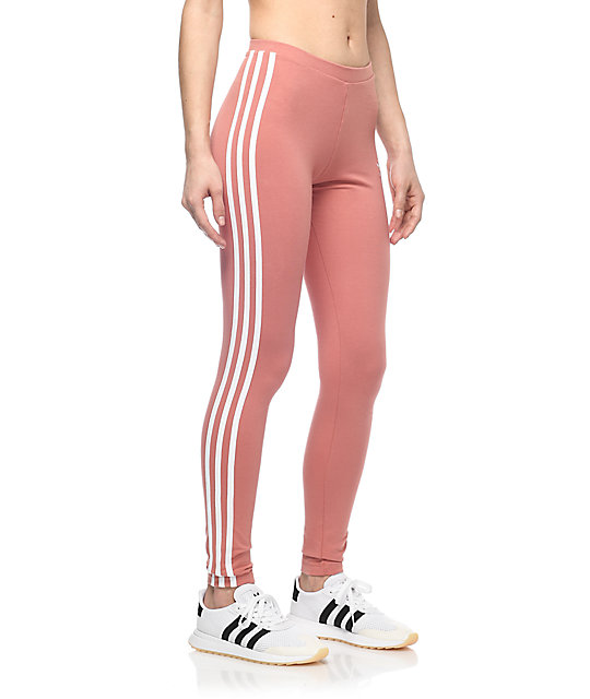 Adidas 3 Stripe Mauve Leggings | Zumiez