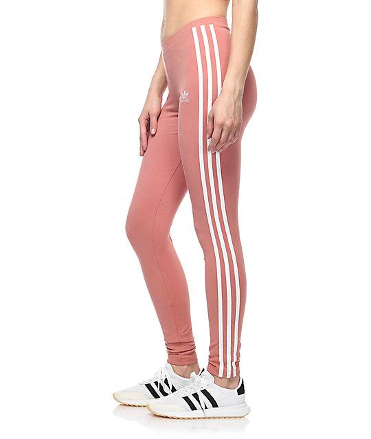 adidas 3 Stripe Mauve Leggings | Zumiez