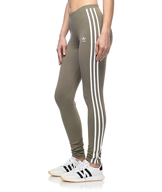 Adidas 3 Stripe Olive Leggings | Zumiez